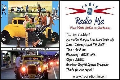 Radio Mia - QSL Card - American Graffiti Special Broadcast