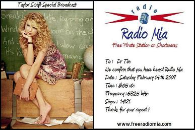 Radio Mia - QSL Card - Taylor Swift Special Broadcast